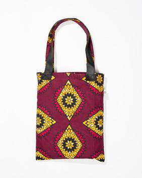 Pink and Yellow Print Tote Bag